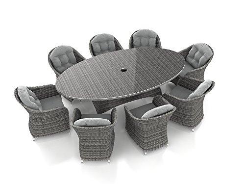 ARTELIA Livia XL Rattan Esstisch Set, Gartenmöbel-Set für Garten, Terrasse, Wintergarten und Balkon, Sitzgruppe Ocean