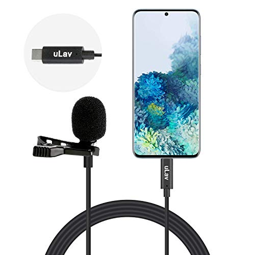 Movo uLav-L - 20 Foot Wired Omnidirectional USB-C Lavalier Clip On Microphone - External Clip On Mic for Android Smartphone or USB-C Devices- Ideal Lapel Microphone for YouTube, Vlogging, Interviews