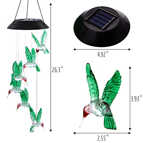 MorTime 2 PACK Solar Hummingbird Wind Chime, Color Changing Mobile LED Solar Wind Chime Outdoor Mobile Hanging Patio Light, Porch, Deck, Garden Decor