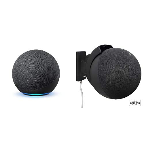 """Echo (4th Gen) bundle with""""Made for Amazon"""" Mount for Echo - Charcoal"""