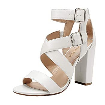 DREAM PAIRS Women s White Pu Ankle Strap Open Toe High Block Heel Sandals Strappy Dress Pump Shoes Size 8 B M  US Gamila