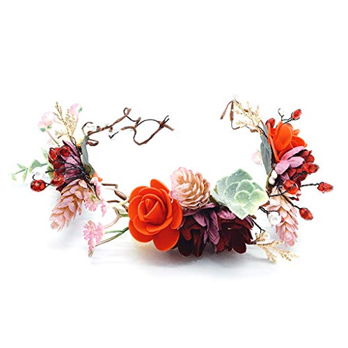 WDFVGEE - Diadema bohemia para novia, joyería de boda, diseño de hojas de cobre dorado con flores de imitación para decoración de pared