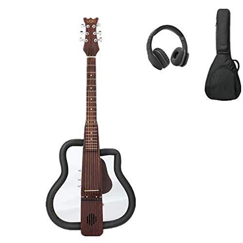 KOUPA Steel String Silent Guitar, Trans Black Bundle mit Gig Bag, Kopfhörern, Stimmgerät, Gurt, Saiten und Poliertuch, Kopfhörerkabel, Lautsprecherkabel