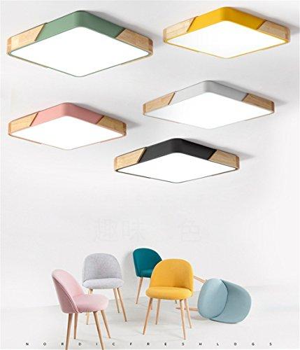 vert Joeyhome Moderne simple rond plafonniers en m/étal avec caoutchouc bois acrylique mat/ériel color/é plafonniers LED plafonnier lampe Dia 30cm