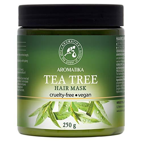 Masque Cheveux 250g - 100% Naturelle Huile Essentielle d'Arbre à Thé & Huiles d'Argan & d'Olive - Hydrate les Cheveux - Ajoute du Volume & de la Brillance - Sans Sulfate & Sans Paraben