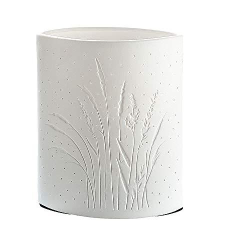 GILDE kleine Tischlampe Gräser - aus Porzellan mit Lochmuster in weiß B 16 cm