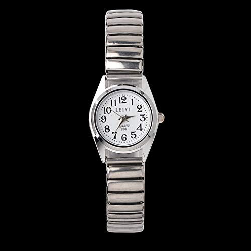 fawox ElasticCouple Relojes Hombres Mujeres Reloj mecánico automático Reloj Femenino Plateado-Blanco