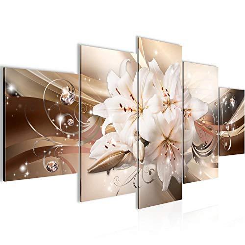 Runa Art - Bilder Blumen Lilien 200 x 100 cm 5 Teilig XXL Wanddekoration Design Beige Braun 020151a
