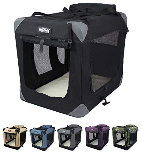 EliteField 3-Door Folding Soft Dog Crate, Indoor & Outdoor Pet Home, Multiple Sizes and Colors Available (42' L x 28' W x 32' H, Black)
