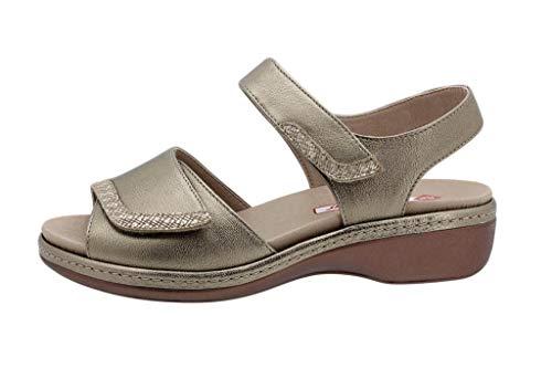 Zapato Cómodo Mujer Sandalia Plantilla Extraíble Metal Vison 190802 PieSanto