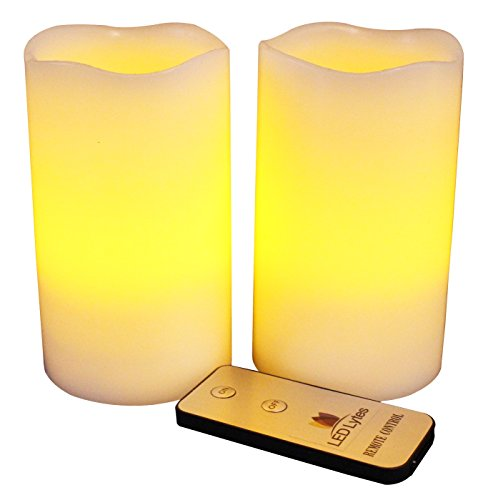 Flameless LED Candles Flickering Pillar, Battery Powered Remote Control Candle Set, 2 Ivory Wax Amber Yellow Fake Faux Flame, Electric Battery Operated Candles for Wedding and Sconces