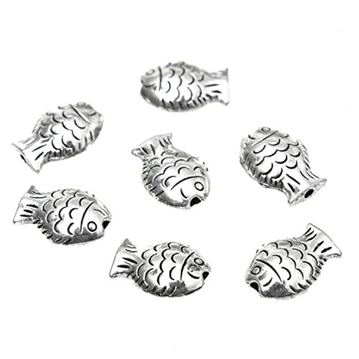 Monrocco 30 PCS Alloy Fish Beads Fish Spacer Beads Fish Charms for for DIY Bracelets Necklace Jewelry Making