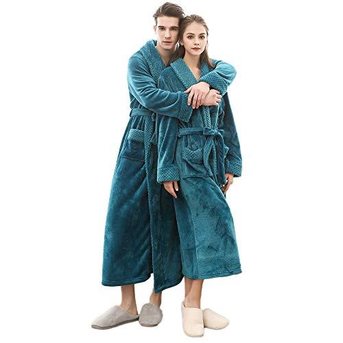 POLP Albornoz Mujer Hombre Unisex camisón Largo Abrigo Albornoz Mujer Ducha Bata de Baño Ropa de Dormir Ropa de baño Parejas Batas Albornoz para Mujer Súper Suave Pijamas de una Pieza