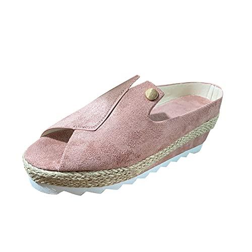 URIBAKY - Sandalias de mujer con cuña de pescado, sandalias de cuña con plataforma, elegantes, cómodas, planas, Rosa (rosa), 38 EU
