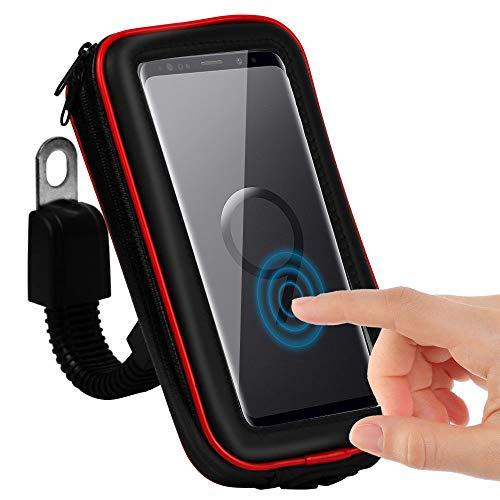 CLM-Tech Handy Fahrradhalterung wasserdichter Halter für bis zu 6,2 Zoll Smartphones, Motorrad Halterung, Fahrrad-Handyhalterung #2, schwarz rot, Kunstleder Lenkertasche