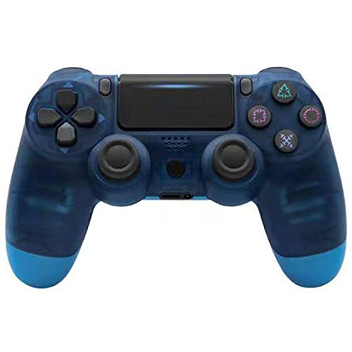 ERGGQAQ Gamepad Inalámbrico Bluetooth, Controlador PS4, con Barra luz LED y Panel Táctil, para Playstation 4 Pro/PC/Teléfono Celular/Tableta/Switch/Joystick Juego DualShock 4,Transparent Blue