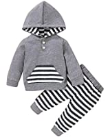 Baby Boys Girls Clothes Long Sleeve Hoodie Tops Sweatsuit Pants Headband Outfits Set 0-24 Months (6-12 Months, Grey)