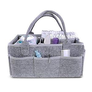 Nursery Storage Bin for Changing Table| Newborn Registry Must Haves| Portable Car Travel Organizer (Grey)