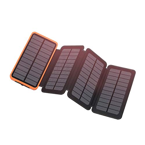 Solar Charger 12000mAh,EREMOKI Outdoor Portable Power Bank with 4 Solar Panels,Fast Charge External Battery Pack with Dual 2.1A Output USB Compatible with Smartphones,Tablets,etc.(Waterproof)-Green ¡