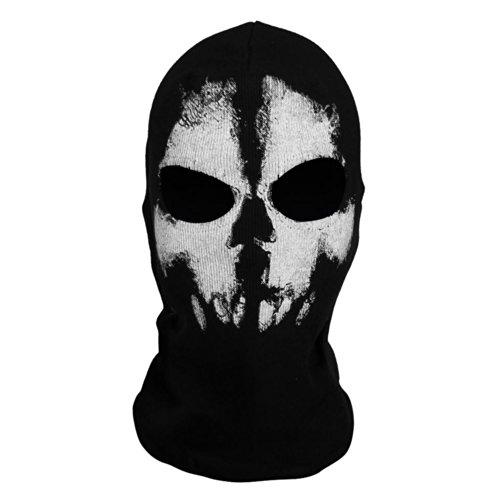 Sturmmaske Totenschädel mit 2 Öffnungen für die Augen Schwarz