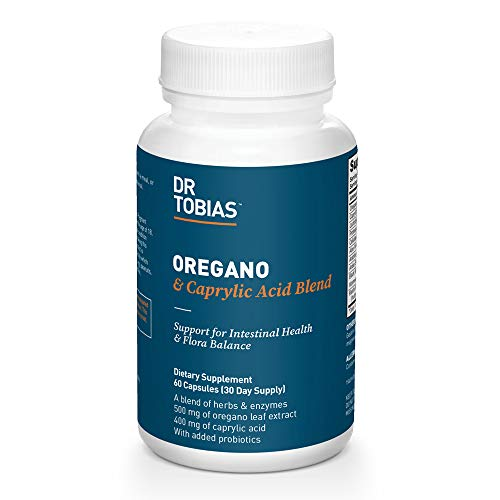 Dr. Tobias Oregano & Caprylic Acid Blend- Detox & Cleanse Bacteria Overgrowth, Added Probiotics for Flora Balance, 60 Capsules (2 Daily)
