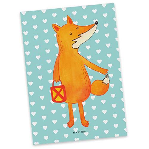Mr. & Mrs. Panda cadeaubon, uitnodiging, Ansichtkaart Vossenlantaarn - Kleur Turquoise Pastel