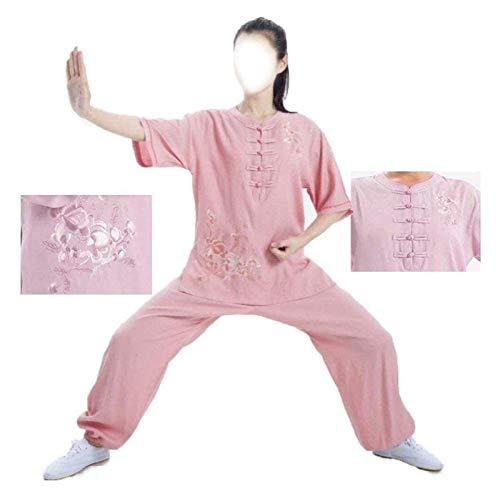 eewopjkj Traje de Tai Chi Suelto Ropa de Tai Chi para Mujer Ropa de práctica de Lino de Verano de Manga Corta Bordada Trajes de Artes Marciales Absorbe el Sudor 1019 (Color: Rosa Talla: 2XL)