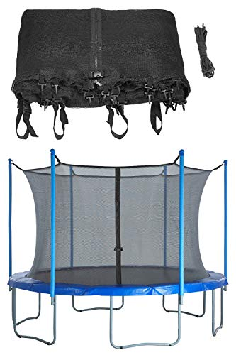 Upper Bounce Trampoline Safety Enclosure Net, Fits 15 FT Round Frame, Using 6 Poles (or 3 Arches) - Adjustable Straps