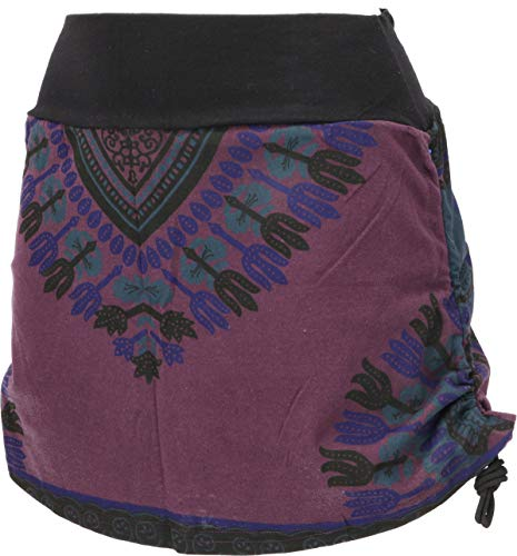 Guru-Shop Minirock, Dashiki Yogarock, Damen, Plum, Baumwolle, Size:36, Röcke/Kurz Alternative Bekleidung