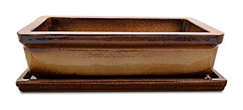 K&K Bonsaischale/Pflanzschale mit Unterschale braun-geflammt 29x18x7cm (LxBxH), Outdoor geeignet aus Schwerer Steinzeug-Keramik (5 Jahre Garantie)