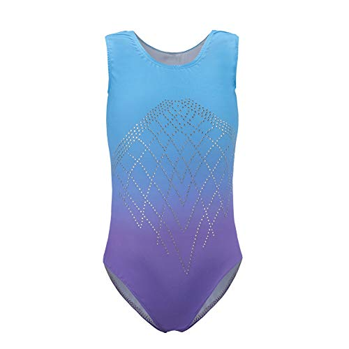 Homemust Girls Gymnastikanzüge Sparkle Trikot Gradient Color Dancewear Ärmellose Tanzballettgymnastik Sportliche Trikots für Mädchen 5-14 Jahre