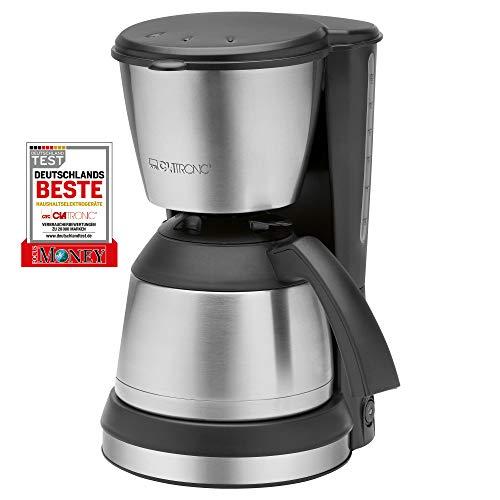 Clatronic KA 3563 Kaffeemaschine, für 8-10 Tassen Kaffee (ca. 1,2 Liter), 800 Watt, inkl. hochwertigen Edelstahlapplikationen, Nachtropfsicherung