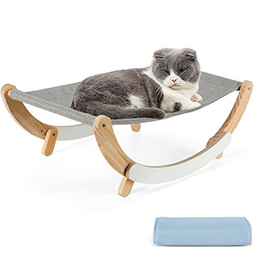 PETTOM 2 in 1 Amaca con Telaio in Legno per Gatto Gattini, Brandina per Cucciolo Piccolo Animale Domestico, Cat Hammock Bed, Facile da Smontare e Lavabile,Interno o Esterno