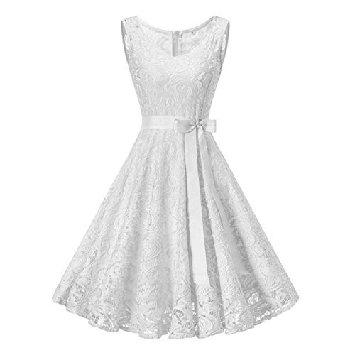 Vintage Floral Lace Dress Women Sleeveless V-Neck Elegant Party Sexy Dresses,White,S