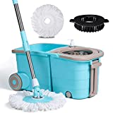 Buyplus Spin Mop Bucket System with Wringer - 360 Spinning Mop Bucket Stainless Telescopic Handle Pole Extra Long, with 2 Microfiber Heads Replacement and Brush for Floor Cleaning