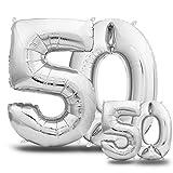 envami Luftballons 50. Geburtstag XXL Silber - Riesen Folienballon in 2 Größen 40' & 16' | 101cm +...