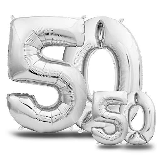 envami Palloncini Compleanno 50 Anni Argento 101 CM + 40 CM - Palloncino Numero 50 - Numeri Gonfiabili Compleanno - Decorazioni Compleanno - Palloncino 50 Anni Compleanno - Vola con l'Elio