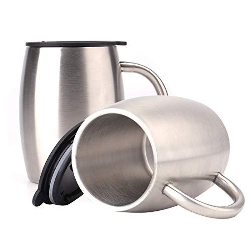 Lawei 2 Stück Edelstahlbecher Campingtasse Isolierbecher Edelstahl Becher Thermobecher mit Deckel für Reise Getränke Kaffee - 400ml