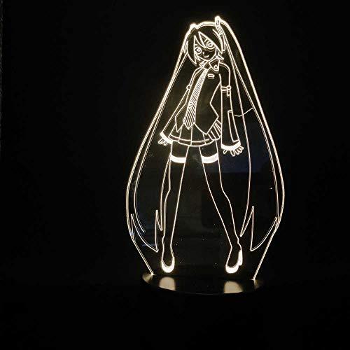 SHJDY Hatsune dildo – nachtlampje, 7 kleuren, 3D-slaapplicht, led-flits, afstandsbediening, geschikt voor decoratie van de kamer, kerstcadeau
