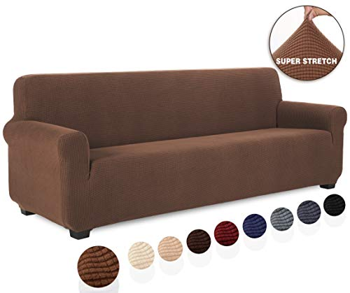 TIANSHU Sofabezug 4 sitzer, Stretch Spandex Couchbezug Sesselbezug Elastischer Antirutsch...