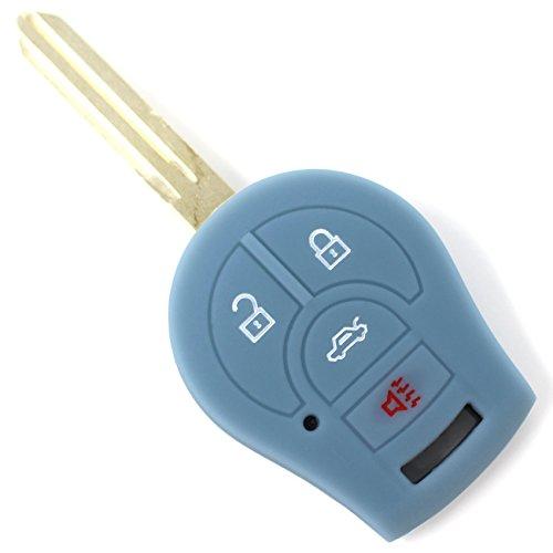 Finest-Folia Coque de clé de voiture en silicone pour 3 à 4 boutons Gris cendre