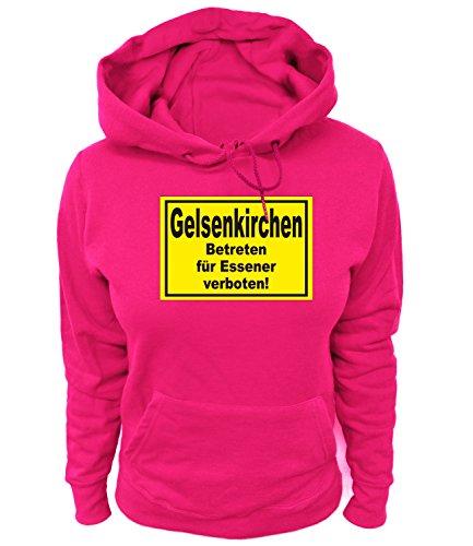 Artdiktat Damen Hoodie Gelsenkirchen - Betreten für Essener verboten Größe M, Fuchsia