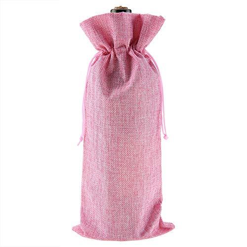 Bolsa con cordón de vino, 12 bolsas de regalo de tela de lino para botellas de vino champán funda decorativa para viajes bodas cumpleaños celebraciones y fiestas rosa