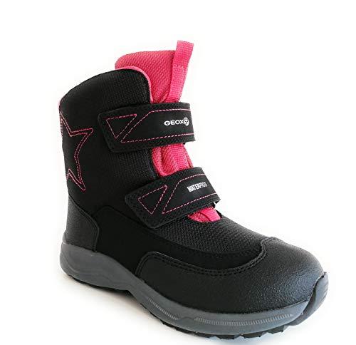 Geox New Alaska J848BD 0FU50 C9235 buty zimowe dla dziewcząt, śniegowce buty odporne na działanie wody, zapięcie na rzepy (czarne/fuksja, czarny - czarny fuksja - 34 EU