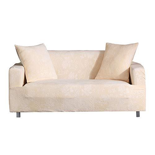 Saadiya Funda de sofá de 1, 2, 3, 4 plazas, funda elástica para sofá individual, protector de muebles para sofá, sofá, alta elasticidad con elastano, lavable para sala de estar (beige, 1 plaza)