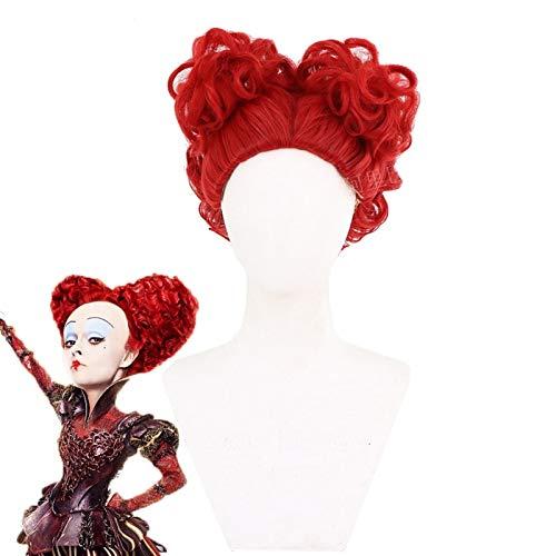 TCYLZ Alicia en el pas de las Maravillas Red Queen Cosplay Peluca Juego de rol Reina de corazones Rojo Rizado Pelucas de disfraces de pelo de fibra de alta temperatura + gorro de peluca