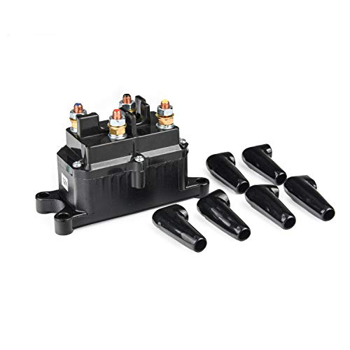 250A Winch Solenoid Relay 12V Winch Rocker Thumb Switch for ATV UTV 2000-5000lbs Winch with 6 Protecting Caps