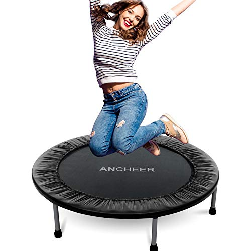 ANCHEER Rebounder Trampoline 38/40 Inch for Adults and Kids, Foldable Mini Fitness Rebounder Trampoline with Safety Pad for Indoor Garden Workout Cardio Training Max Load 220lbs