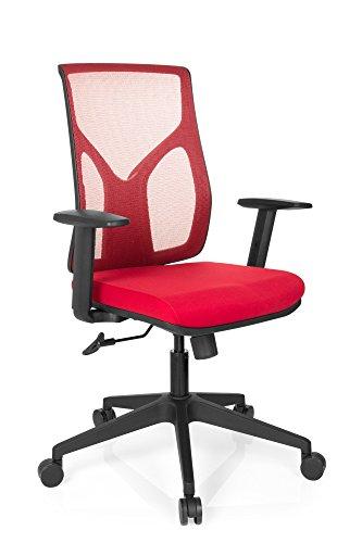 hjh OFFICE 731140 Bürostuhl TURAN Stoff/Netz Rot Home-Office Drehstuhl, Armlehnen höheverstellbar, Netzrücken