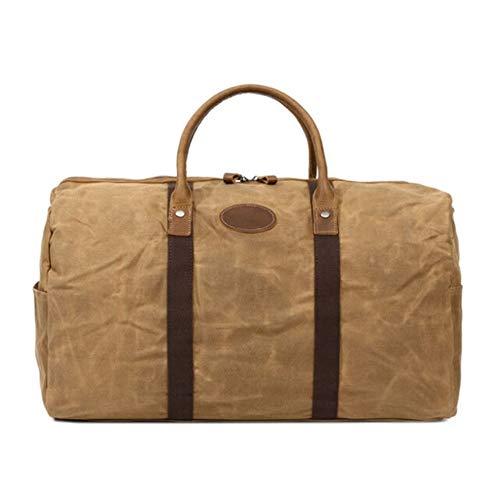 Leather - Piercings de piel para hombre, cera de tela de Duffle Men's Bag de viaje, gran capacidad, multifunción, bolsa de ocio, viaje, resistente al agua, marrón (Marrón) - 92727